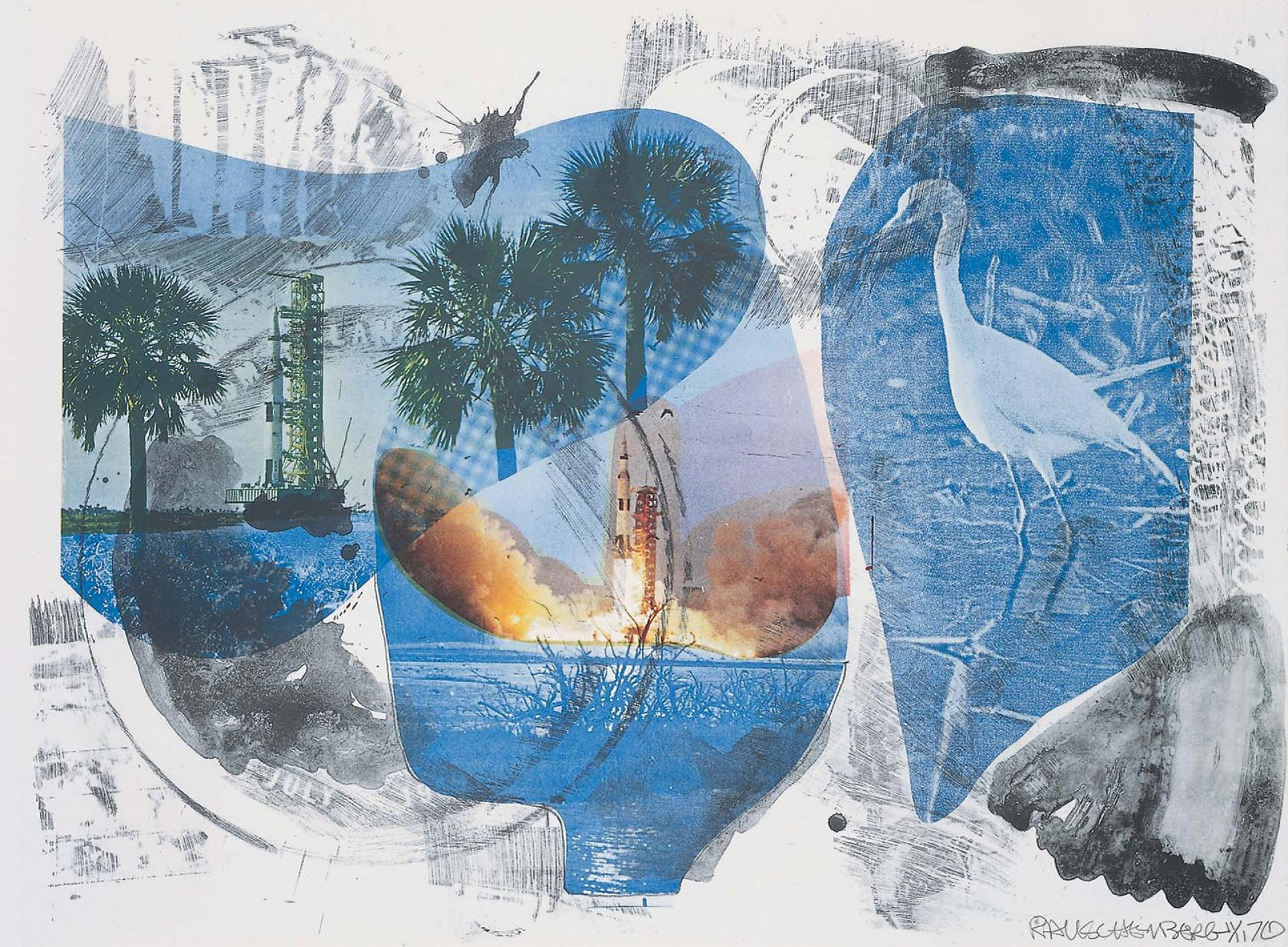 <p><em>Local Means (Stoned Moon)</em>, 1970. Lithograph, 32 3/8 x 43 5/16 inches. © Robert Rauschenberg Foundation and Gemini G.E.L.</p>