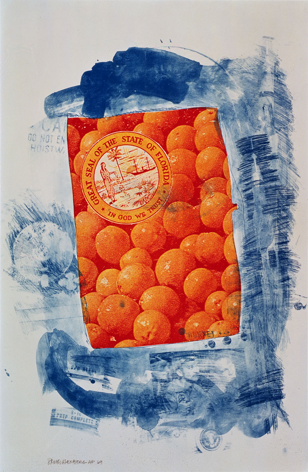 <p><em>Banner (Stoned Moon)</em>, 1969.  Lithograph, 54 ½ x 36 inches.  © Robert Rauschenberg Foundation and Gemini G.E.L.</p>