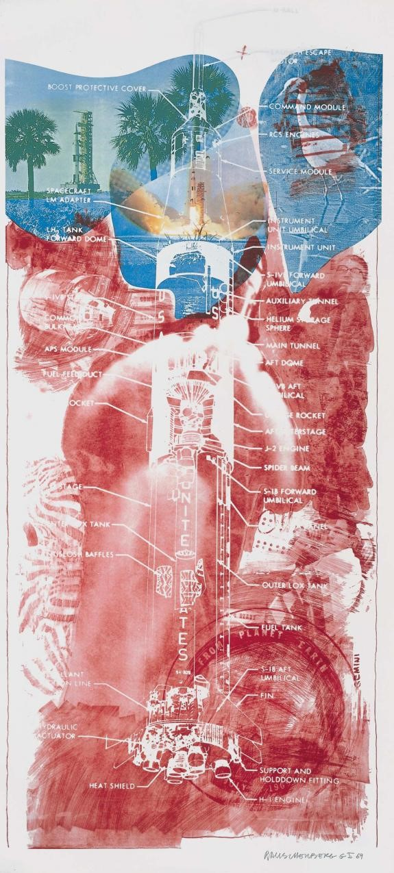 <p><em>Sky Garden (Stoned Moon)</em>, 1969.  Lithograph and screenprint, 89 1/4 x 42 inches.  © Robert Rauschenberg Foundation and Gemini G.E.L.</p>