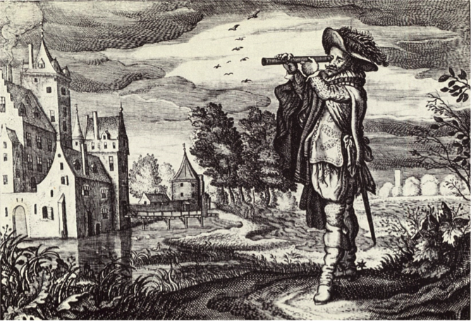 "Early depiction of a ""Dutch telescope,"" from the Emblemata of Zinne-werck, 1624, engraved by Adriaen van de Venne, who worked near the optical workshop of Hans Lippershey."