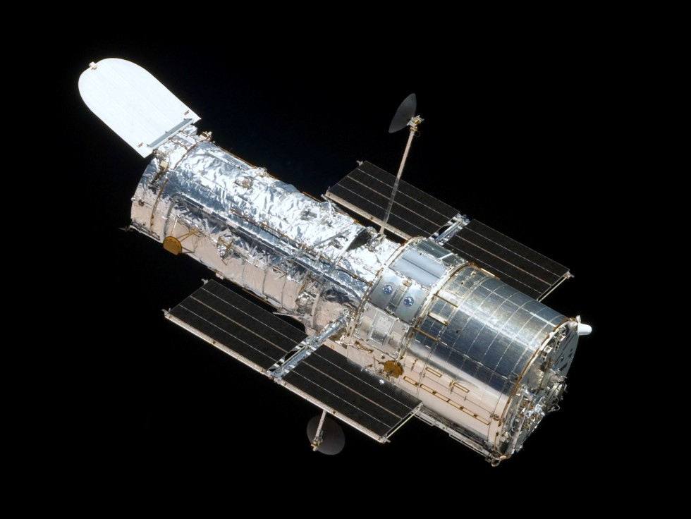 The Hubble Space Telescope as seen from the departing Space Shuttle Atlantis.