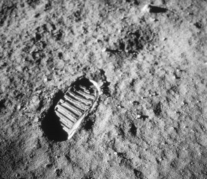 American Astronaut Neil Armstrong's first footprint on the Moon, July 20, 1969.