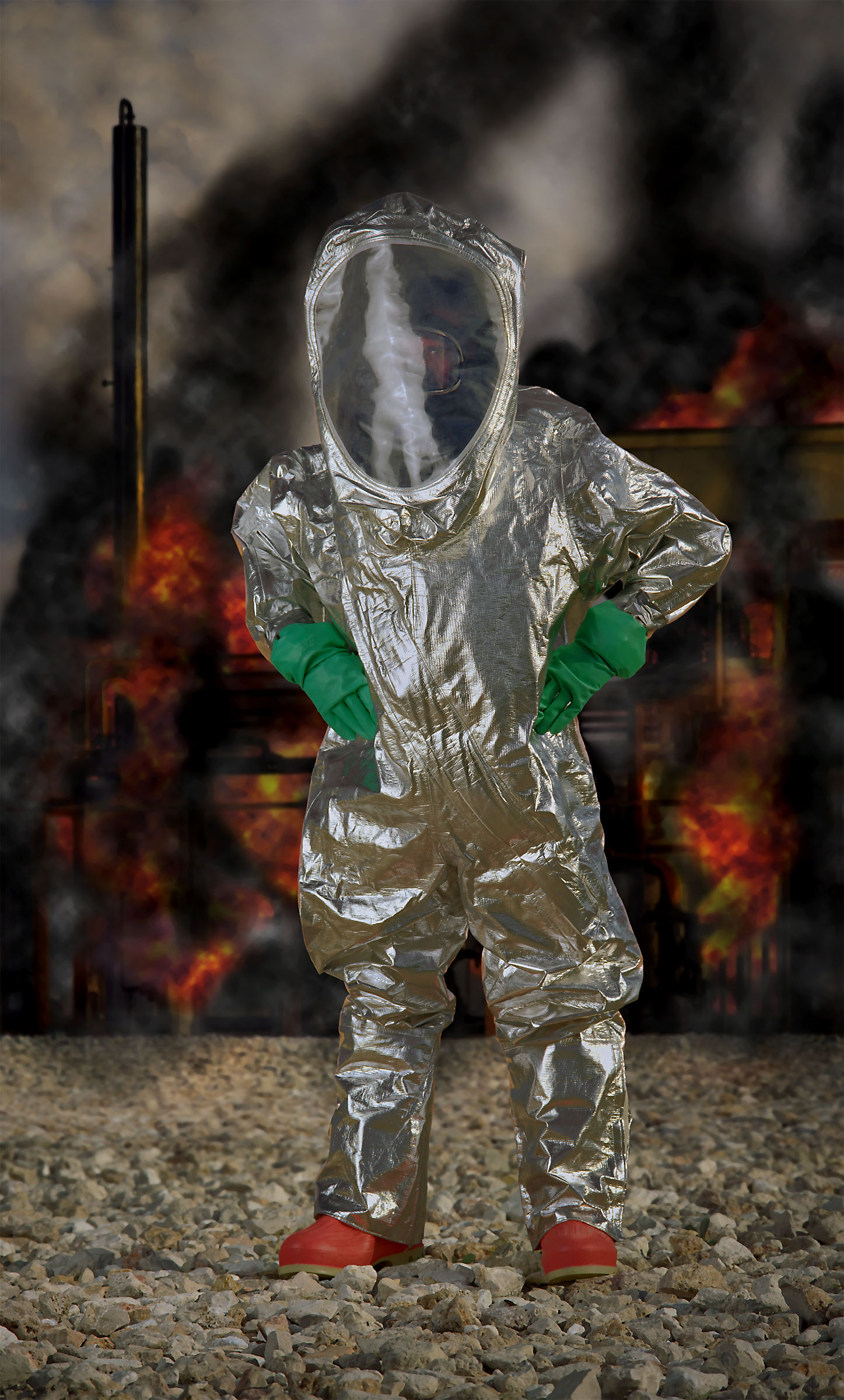"""<p><em>Level A HAZMAT suit, aluminized (""""Disaster City"""", National Emergency Response and Rescue Training Center, Texas Engineering and Extension Service, College Station, Texas)</em>, 2004, pigmented inkjet on canvas with varnish, 63X38 inches</p>"""
