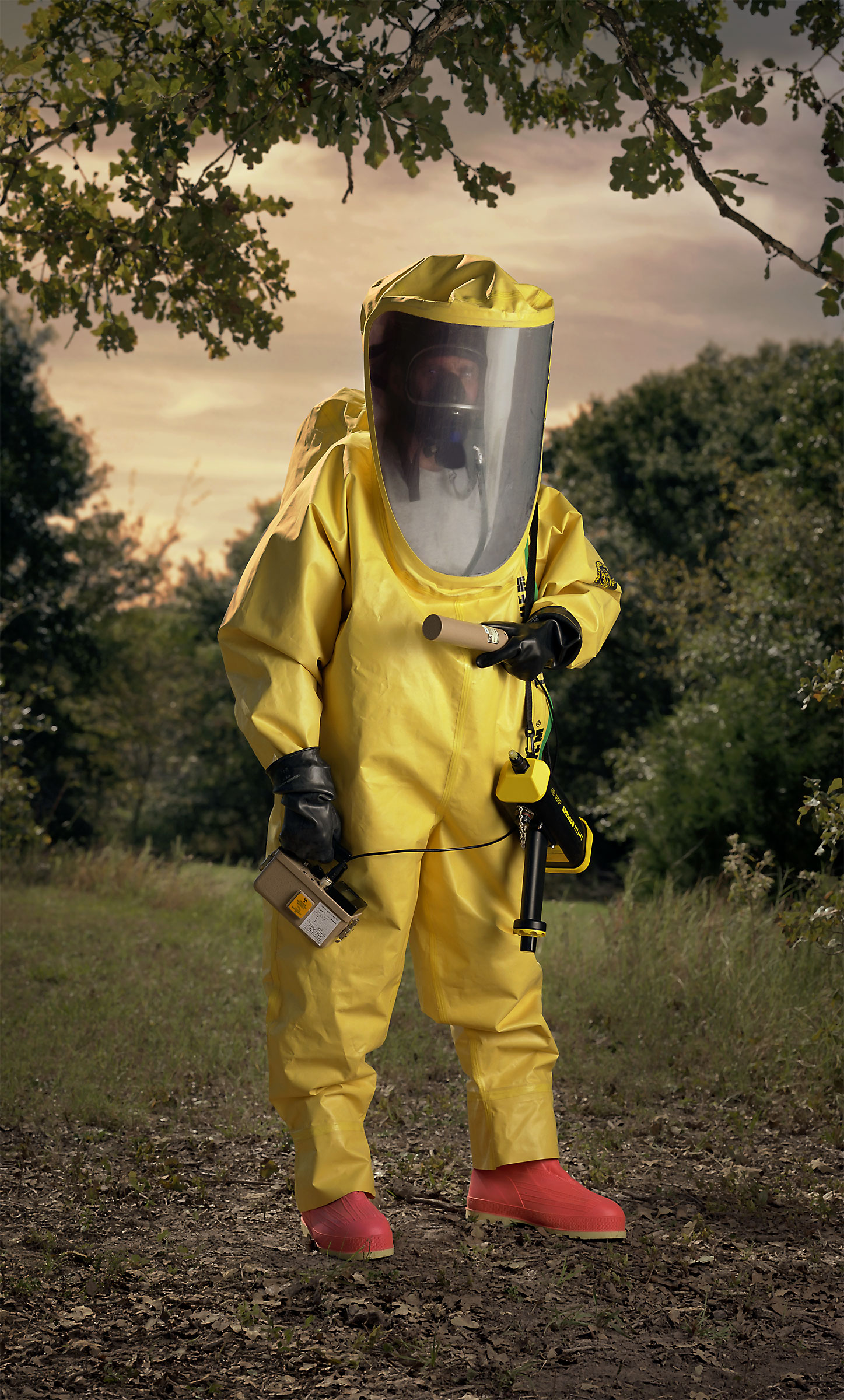 <p><em>Level A HAZMAT suit, yellow (&#8220;Disaster City&#8221;, National Emergency Response and Rescue Training Center, Texas Engineering and Extension Service, College Station, Texas)</em>, 2004, pigmented inkjet on canvas with varnish, 63X38 inches</p>