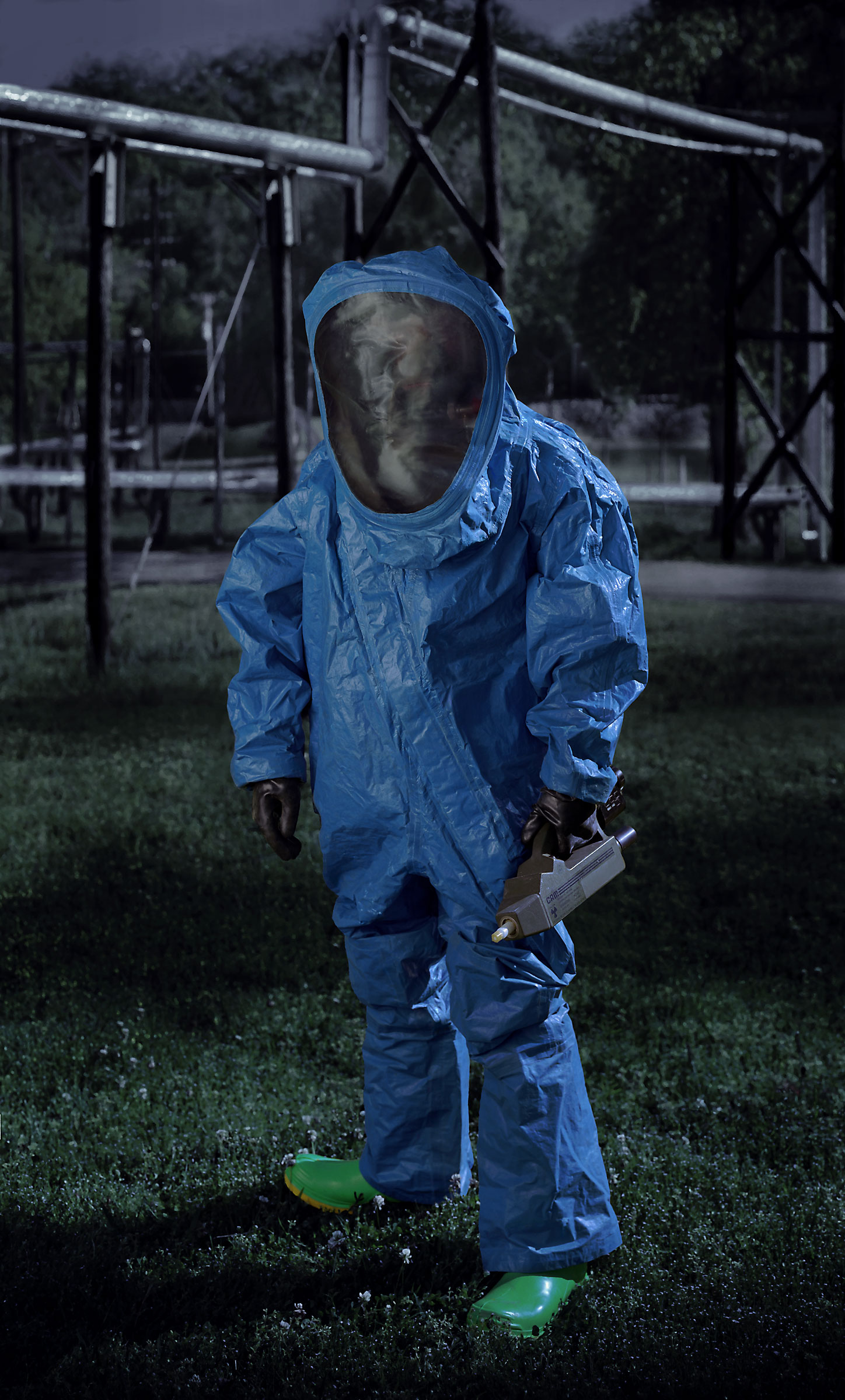 <p><em>Level A HAZMAT suit, blue (Ordnance Munitions and Electronic Maintenance School, U.S. Army, Redstone Arsenal, Huntsville, AL)</em>, 2007, pigmented inkjet on canvas with varnish, 63X38 inches.</p>