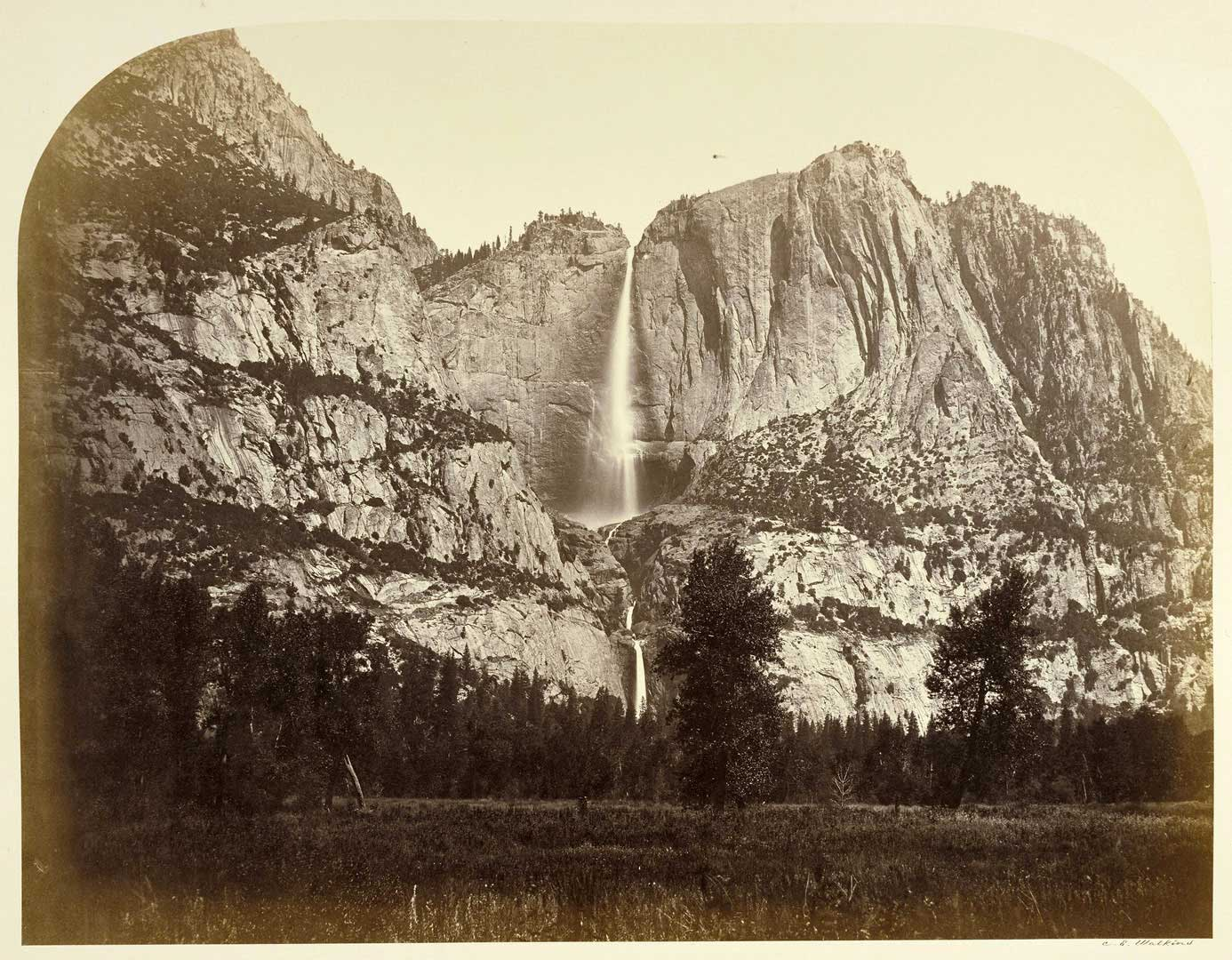 Carleton Watkins, The Bridalveil Fall, Yosemite, 1861, albumen silver print from glass negative, courtesy:  J. Paul Getty Museum, Los Angeles
