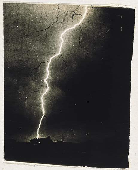 An 1882 image by William N. Jennings, who is credited as the first person to photograph lightning.  Courtesy: Wikipedia